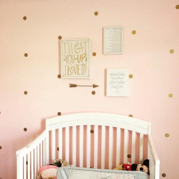 Gold Polka Dot Wall Decal Nursery Decor Bedroom Wall Decals