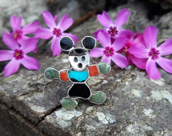 Vintage Zuni Mickey Mouse Ring - Size 7