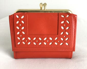 Vintage Amity Bright Red Leather Wallet French Purse