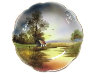 1930's Hand Painted Noritake Bowl Country Cottage Pastoral Scene