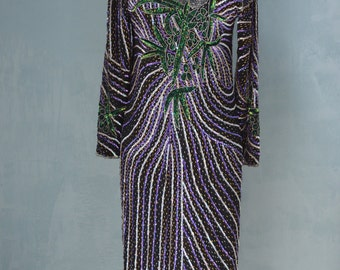 Vintage 70s Bohemian Hypnotic Sequined beaded Purple Tea Party Cocktail Wedding Dress