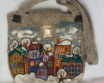 Felted bag,  wool bag, Handmade Bag, boho bag