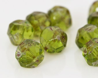 Green Central Cut Beads, Olivine Green Czech Glass Beads with Picasso, Green Baroque Cut Beads, Faceted Glass Beads, 8mm - 15 beads (CC-02)