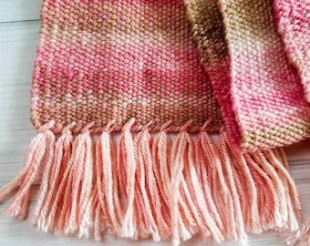 """Handwoven scarf handspun yarn girls scarf ladies scarf pink scarf red scarf handmade scarf unique scarf """"Cherry Blossom"""" scarf"""