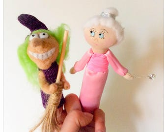 Finger puppets A witch and A fairy/puppet fingers a witch and a fairy