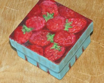 A small handpainted paper mache box 'Pint of Strawberries'