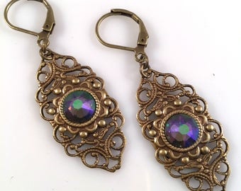 Paradise Shine Swarovski Crystal Earrings - Multi-Color Crystal Earrings - Dawn Santucci - Metal di Muse - Vintage Style Earrings - filigree