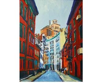 Gay Street Greenwich Village Winding Street NYC Fine Art Print 8x10 White Frame  Black Frame  New York Cityscape Painting Gwen Meyerson