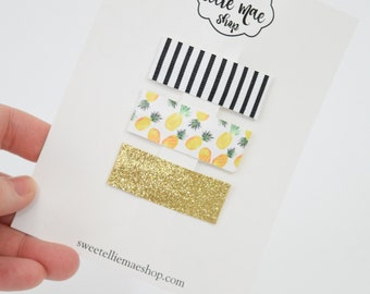 B&W Stripe, Pineapples,  Fine Gold Glitter | Faux Leather and Glitter Snap Clips