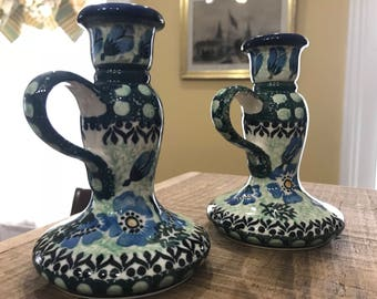 Hand-Painted Polish Pottery Taper Candle Holders with Handles