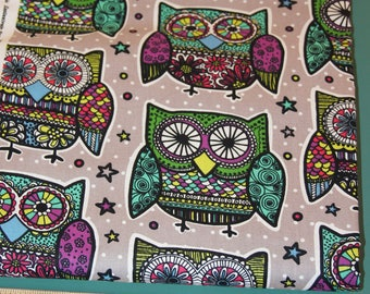 1/2 Yard Novelty Cotton Print Fabric Multi Colored Owls