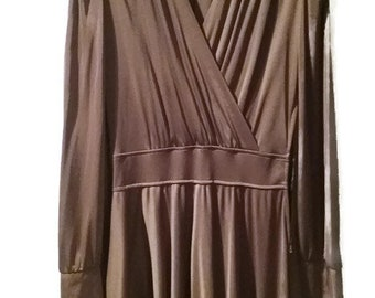 Vintage 70s Dress V neck  Dance Dress  Brown  Zipper Size LongSleeved Dress Size S