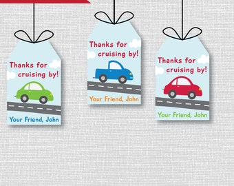 Cars and Trucks Birthday Favor Tags - Cars and Trucks Theme Birthday Party - Digital Design or Handcrafted Tags - FREE SHIPPING