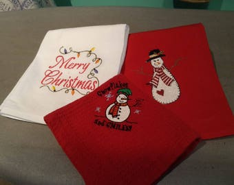 Set of 3 Holiday towels