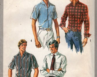 Simplicity 8725 Free Us Ship Vintage Vintage Retro 1970s 70s 1971 Sewing Pattern Men's Extra Tall Men's Shirt Chest: 38 40 42 44 Uncut