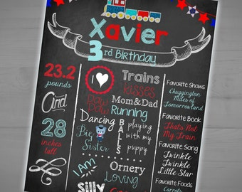 Train Themed Printable Birthday Chalkboard Sign - Train Milestone Stat Poster - Photo Prop - Personalized Sign - 8x10 - 16x20