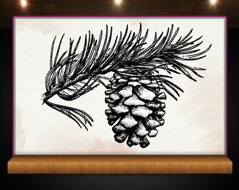 Pine Cone and Branch - Fall -  Rubber Stamp - Perfect for Crafts, Scrapbooks and more!