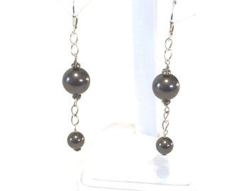 Sterling Silver And Black Glass Bead Dangle Earrings