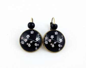 Bronze Stud Earrings * cabochon * cherry Branches * Black Pearl