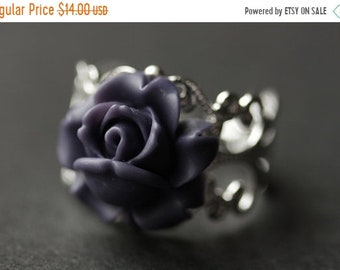 MOTHERS DAY SALE Rose Ring. Purple Rosebud Ring. Dark Purple Flower Ring. Purple Ring. Handmade Ring. Rose Bud Ring. Purple Rose Ring. Handm