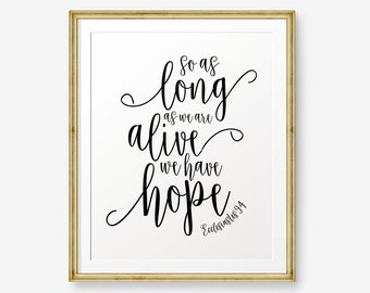 So as long as we are alive we have hope,  Ecclesiastes 9:4, Bible verse printable Scripture Print , Christian Gift, christian wall art