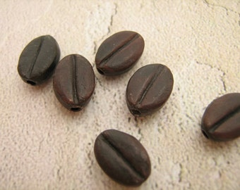 4 Tiny Coffee Bean Beads