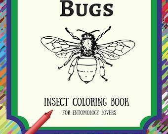 Printable Bugs Coloring Book /Adult Coloring Book/Printable Digital PDF Download/Grown-up Coloring Book