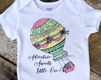 Adventure Awaits Little One Onesies®, Baby Girl Onesie, Hot Air Balloon Onesie, Graphic Onesie, Shabby Chic Baby, Adventure Onesie, Onesies®