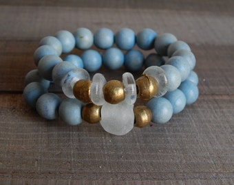 SALE Light blue wood stretch bracelets with recycled glass, african glass beads, vintage brass beads, bracelet set, beach chic, summer