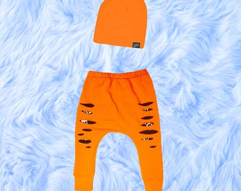 Halloween Baby Boy Harem Pants Set, Baby Boy Clothes, Baby Boy Leggings, Baby Slouch Beanie, Baby Shower Gift, Baby Harem Pants, Baby Outfit