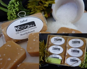Caramels Sea Salt ~ Gift Box of 1 or 2 dozen extra creamy, gourmet,  Salted homemade caramels