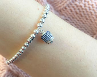 Bracelet entirely in silver 92 with bell pendant with cubic zirconia