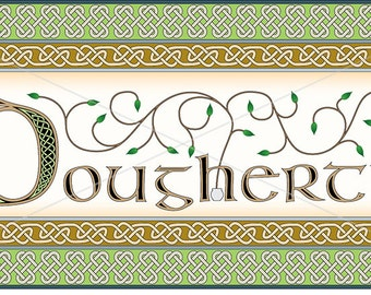 Irish surname Dougherty intricately rendered with celtic knots, original design