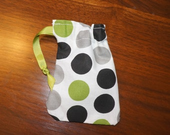 Green Black & Gray Polka Dot Drawstring Bags