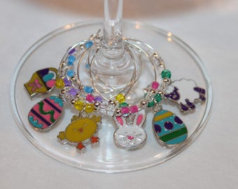 Easter Wine Charms Set of 6 Easter Charms Egg Charms Easter Decor