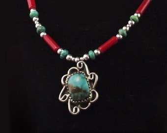 White Fox Creation: Navajo Sterling and Turquoise Pendant on Liquid Silver