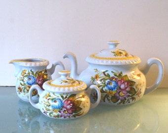 Vintage PV Peasant Village Tea Set Made in Italy