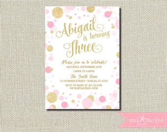 Pink and Gold Birthday Invitation, Pink and Gold Confetti Invitation, Birthday Invitation, Gold Glitter, Glam, Champagne, Blush, Digital