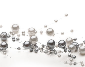 Pearl Beaded Garland Spray - Two Tone Silver / Gray
