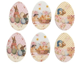 Wooden Easter Egg Card Toppers