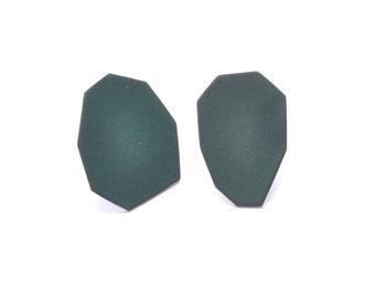dark green earrings, post earrings, geometric studs, geo jewellery, basic stud earrings, everyday jewelry, forest green, modern minimalist