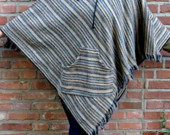 Wool poncho with fringes hoody cape warm woolen poncho with fringes boho cape boho woolen wrap stylish poncho