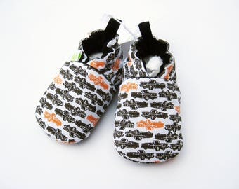 SALE XS Classic Trucks / All Fabric Soft Sole Baby Shoes / Ready to Ship / Babies