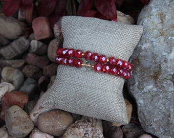 Iridescent red crystal beaded bracelets