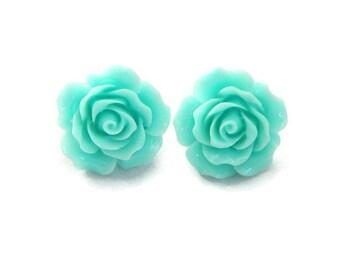 Aqua Rose Earrings, Retro Rockabilly Pinup Large Flower Jewelry, 20mm Resin Bloom