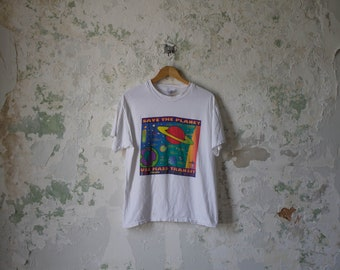 Vintage Peter Max Tshirt - 1990s 90s Save the Planet shirt tee Medium Large