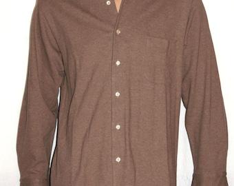 Caual Men's shirt, Loro PIANA, Long sleeves, Light Brown, melange shirt, 100% Cotton, Italian Craftsmanship, High Quality, Made in Italy
