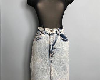 Vintage 1980s 1990s Acid Wash Pencil Skirt