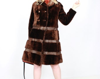 60s fur coat, 70s brown coat, Size Large,vintage coat, fur leather coat, 1960s coat, 1970s winter coat,US 10-12,EU 40 - 42