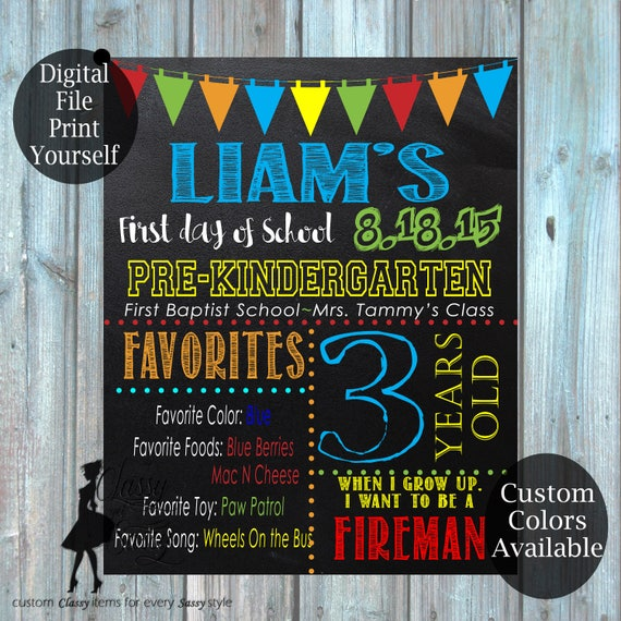 First Day Of School Chalkboard Sign 181